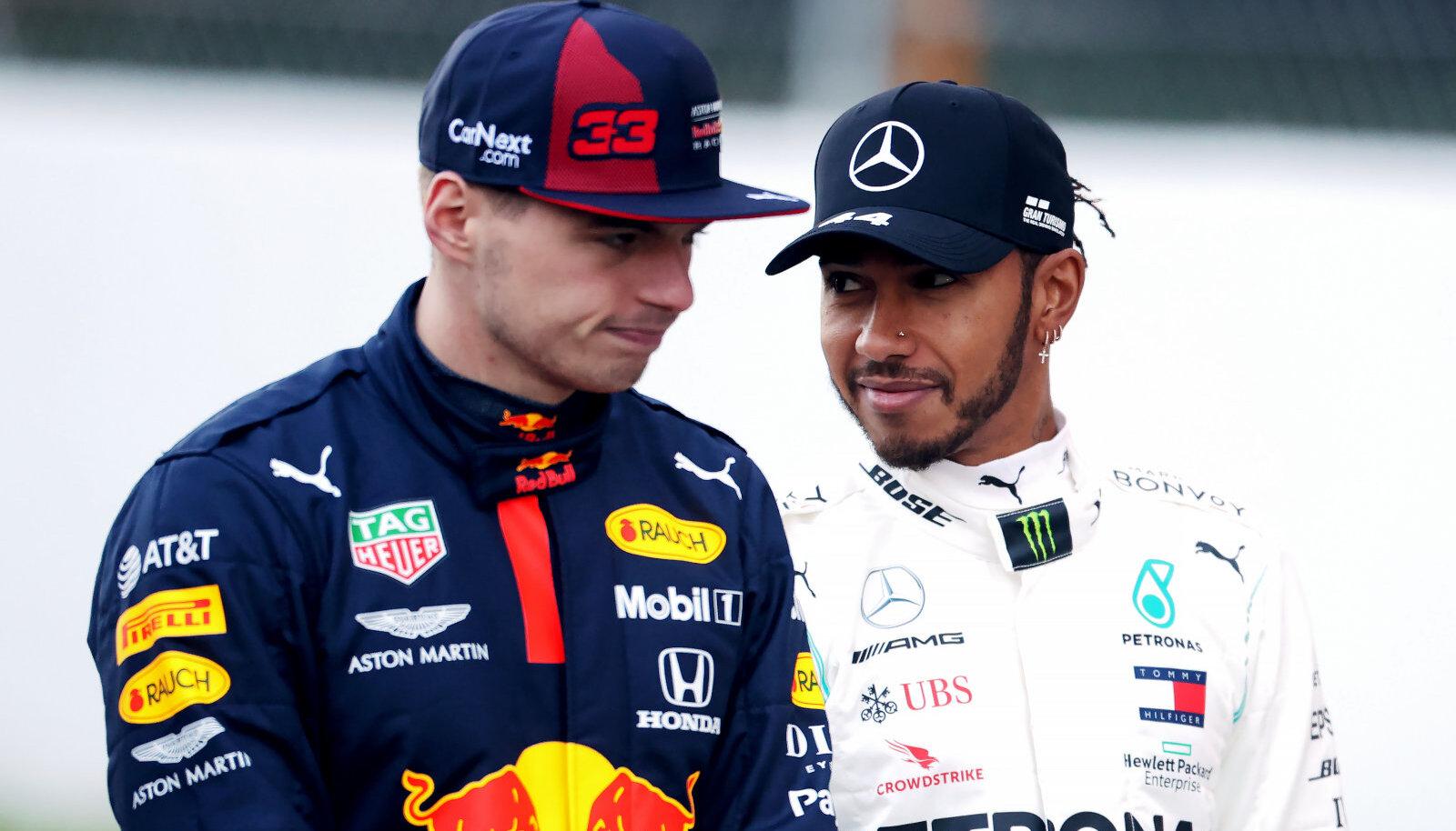 Max Verstappen (vasakul) ja Lewis Hamilton.
