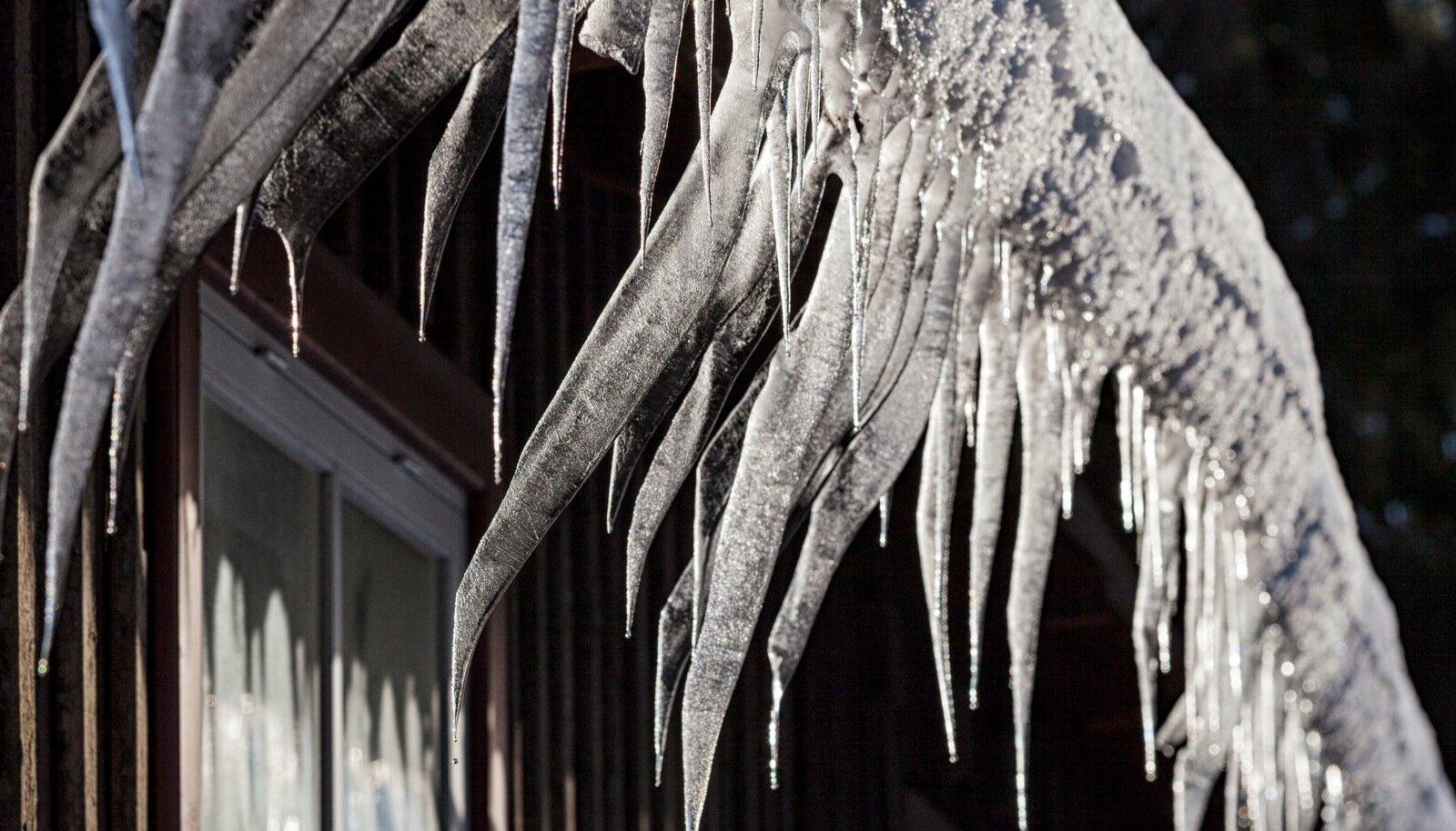 Talve teine pool toob katuseservale rohkesti jääpurikaid.