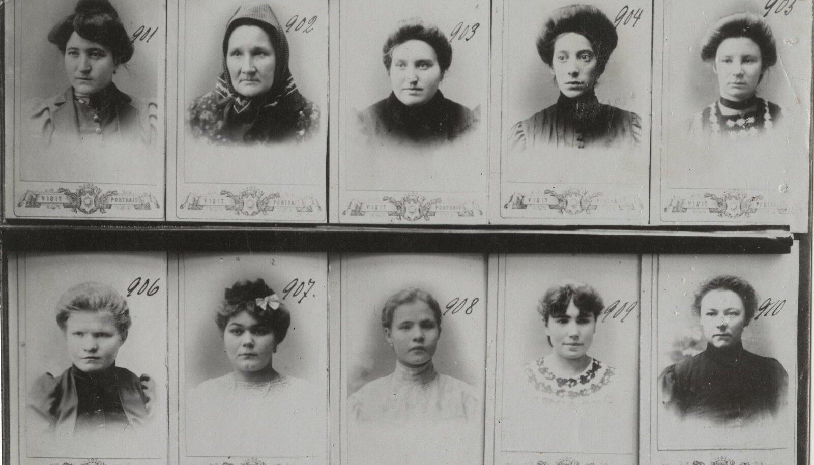 Ülesvõte Tartu prostituutide portreefotodest 1900 aastatel.