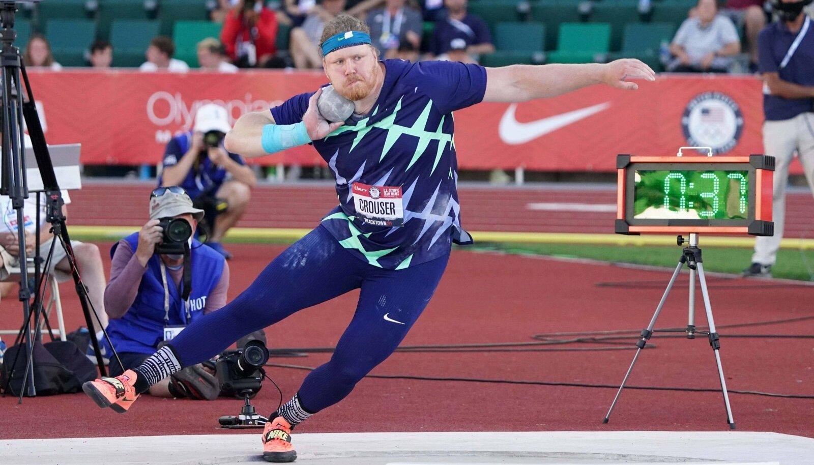 PURAKAS TULI LÕPUKS VÄLJA: Ryan Crouser ohustas kuulitõuke maailmarekordit juba kolm aastat, nüüd lõi ta selle üle lausa 25 sentimeetriga.