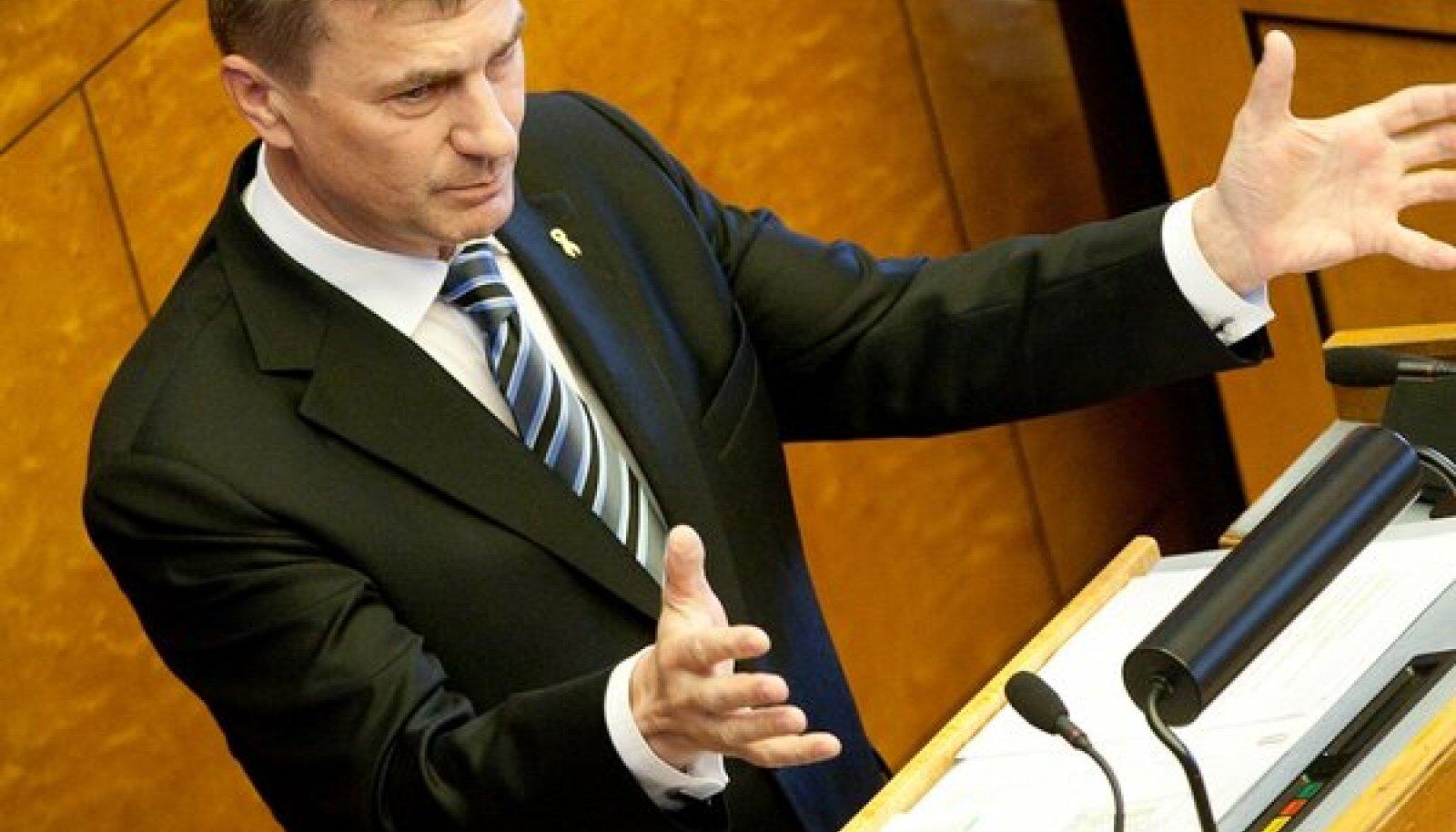 Peaminister Andrus Ansip riigikogus