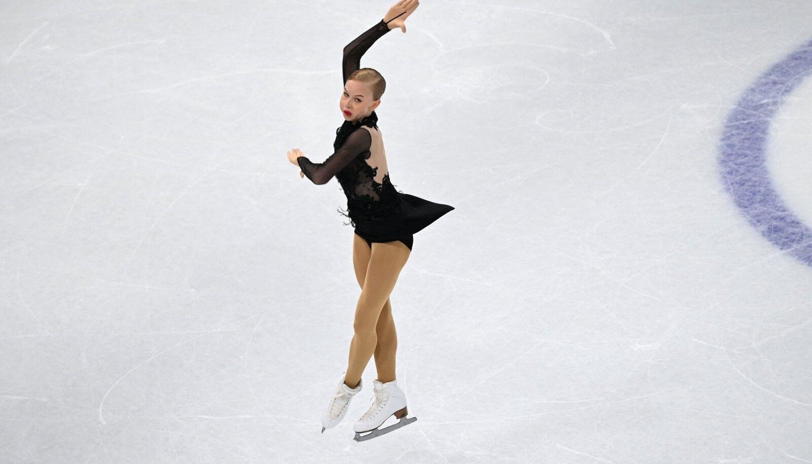 Eva-Lotta Kiibus Stockholmi MM-il lühikava esitamas.