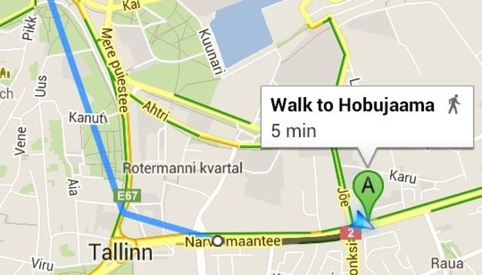 Google Maps tunneb Tallinna ühistransporti.