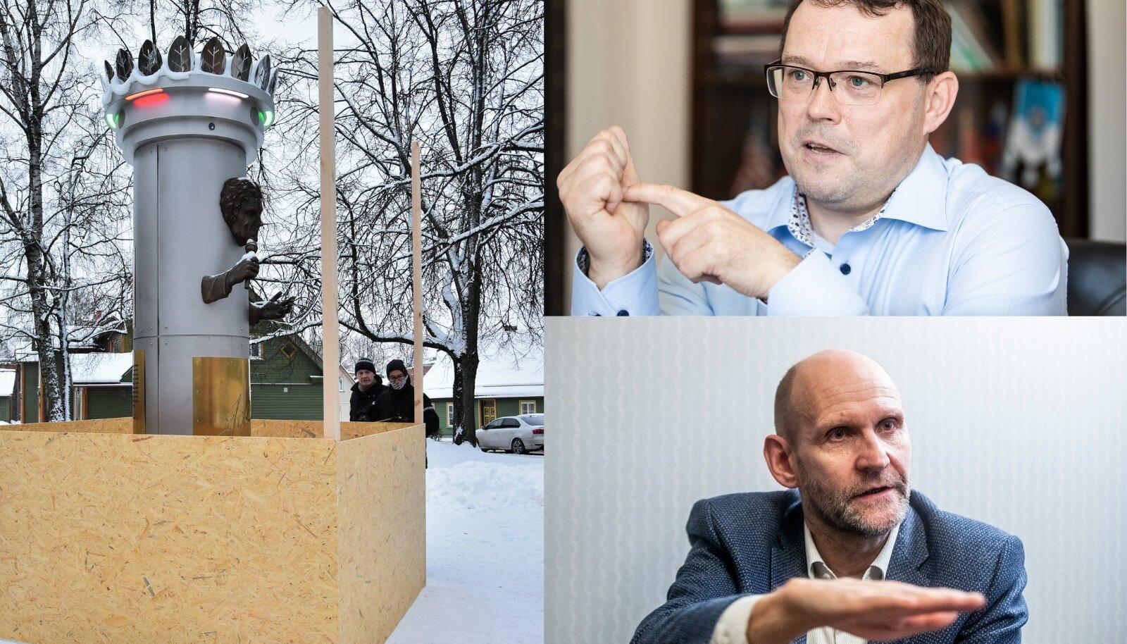 Jaak Joala kuju pannakse vineerkasti. Üleval Madis Timpson, Viljandi linnapea. All Helir-Valdor Seeder, Isamaa juht ja Viljandi volikogu esimees.