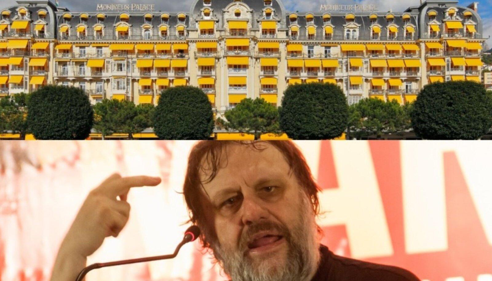 Ülal: The Fairmont Le Montreux Palace - Bilderbergi grupi kohtumispaik aastal 2019. All: Sloveenia kultusfilosoof Slavoj Žižek
