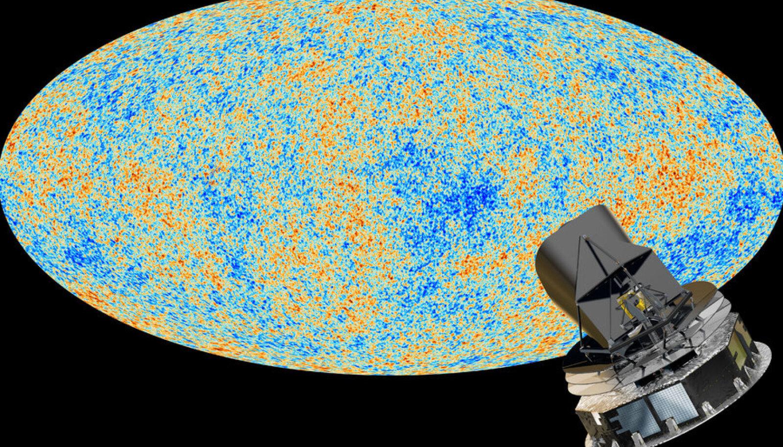 Plancki teleskoop ja universumi kaart. Foto: ESA