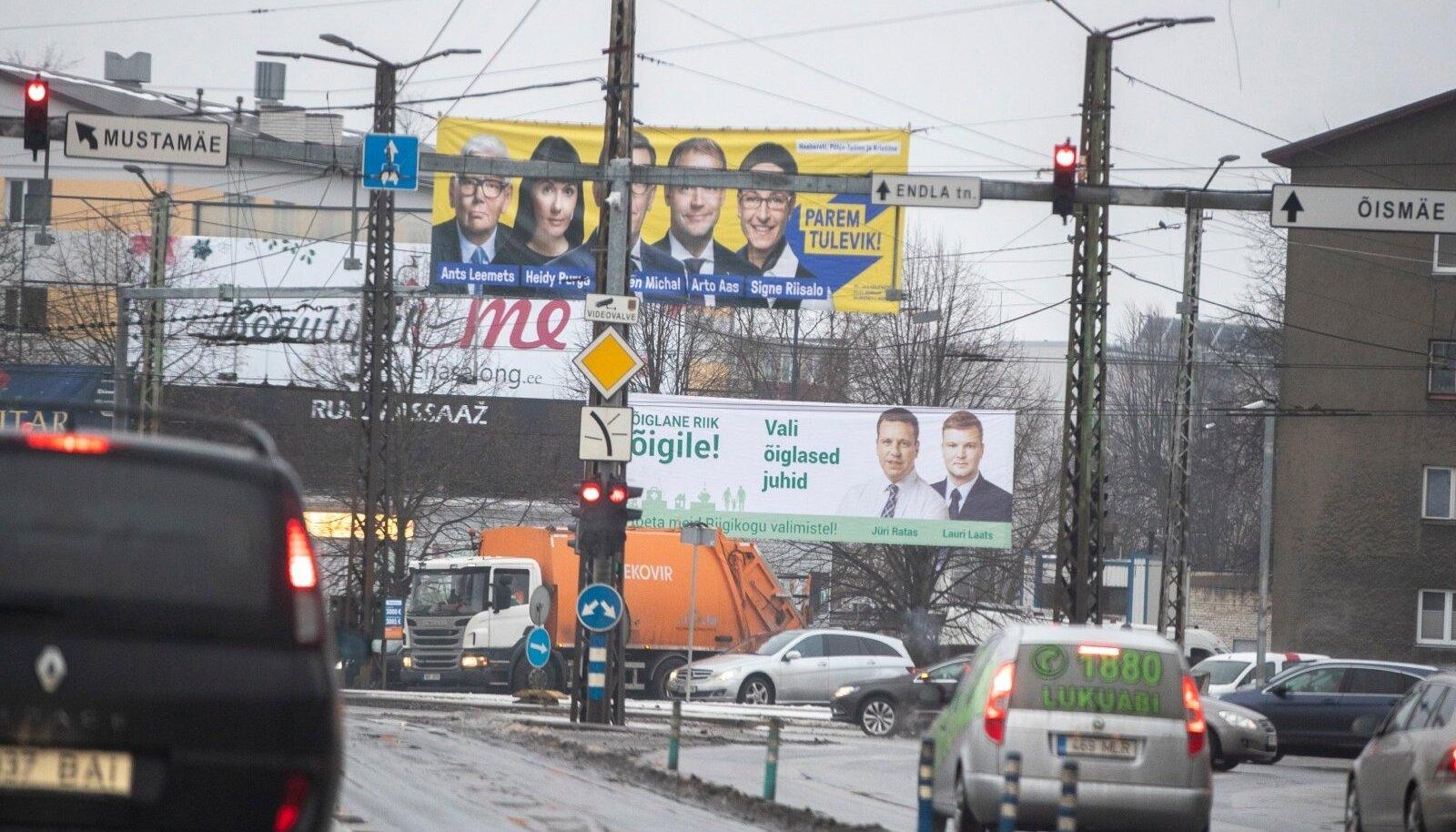 Valimisreklaamid Tallinnas Kristiine ristmiku juures