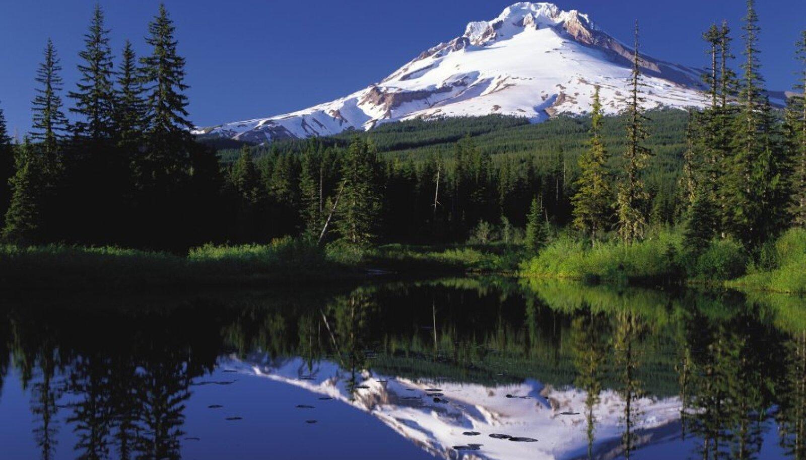Mount Hood koos peegelpildiga vees
