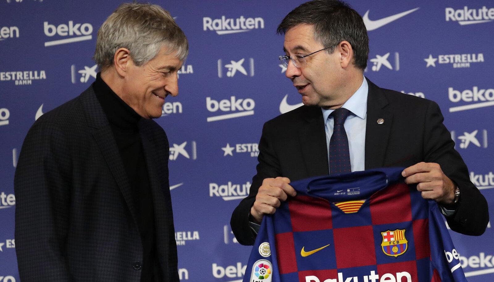 Quique Setien ja Josep Maria Bartomeu