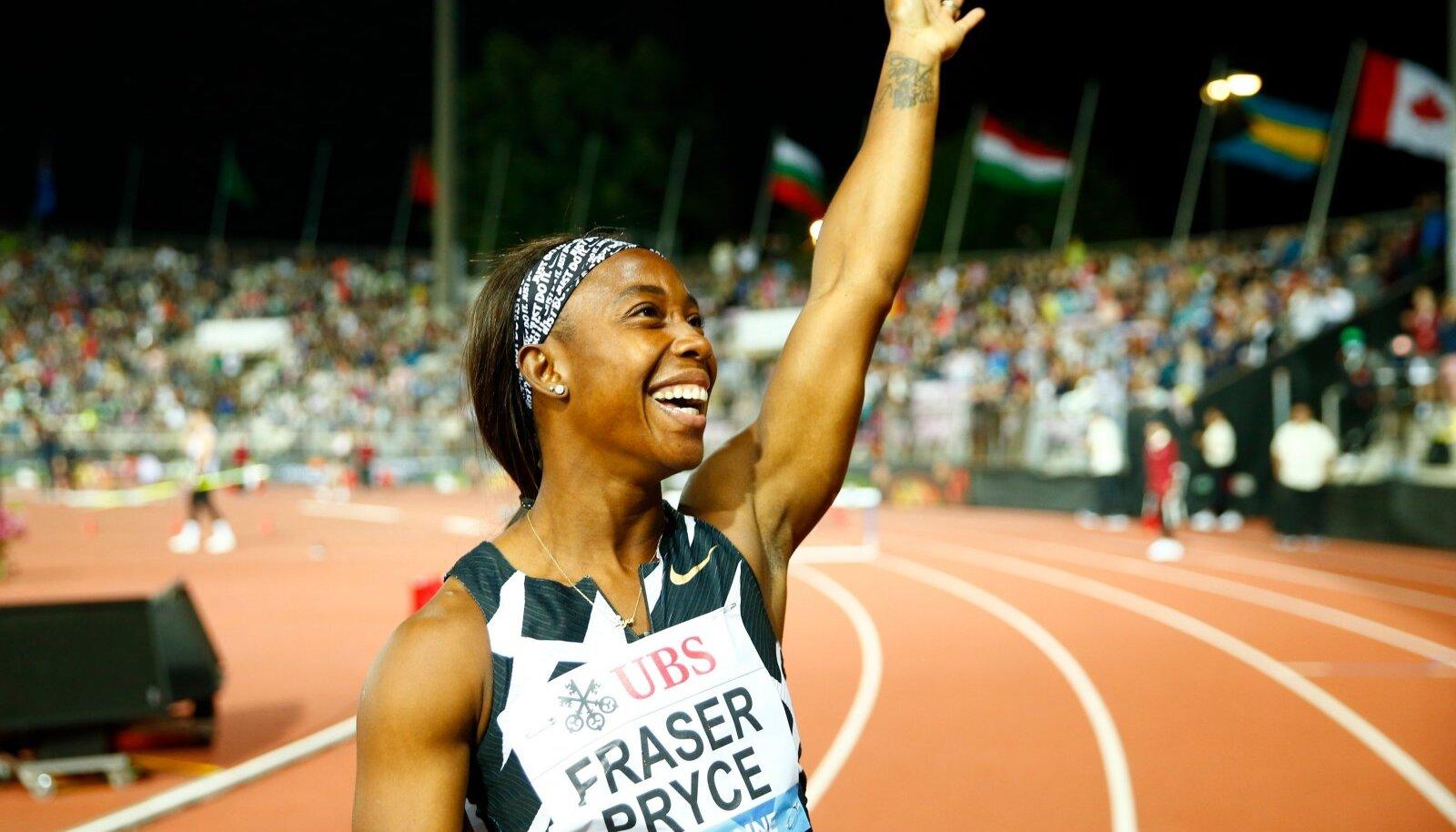 Shelly-Ann Fraser-Pryce rõõmustamas Lausanne'is näidatud isikliku rekordi üle.