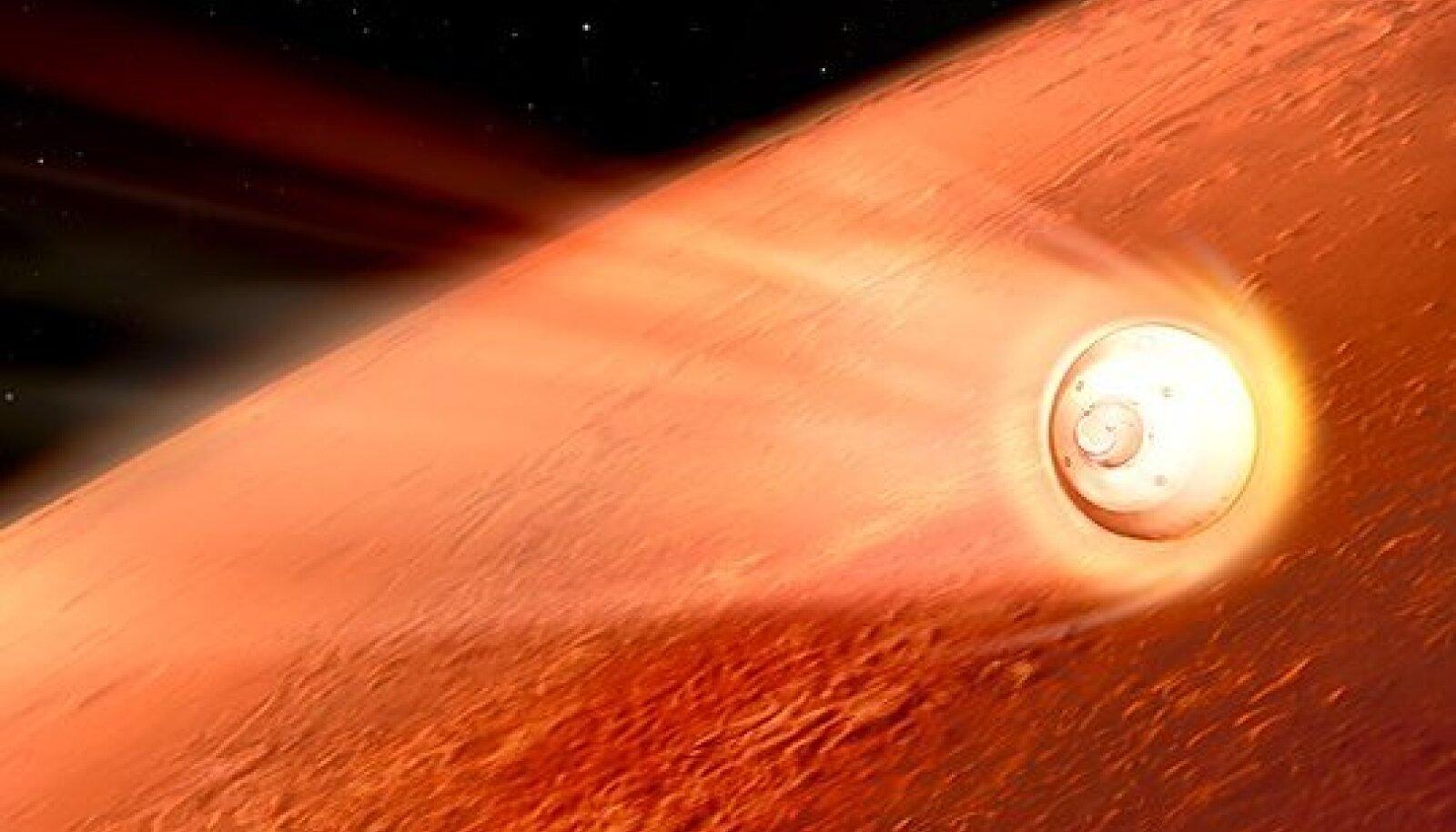 Kunstniku nägemus sellest, kuidas Marsi atmosfääri jõudnud kosmosesõiduk pidurdab, et selle pardal viibiv kulgur Perseverance ikka kenasti Marsile jõuaks (Foto: Wikimedia Commons / NASA, JPL-Caltech)