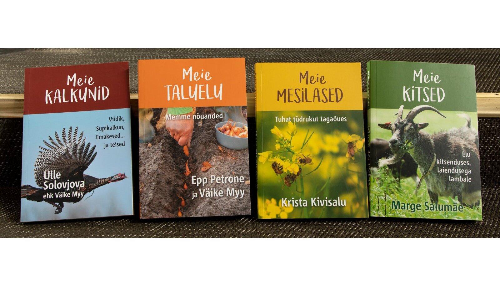 """Raamatud """"""""Meie kalkunid"""", """"Meie taluelu"""", """"Meie mesilased"""", """"Meie kitsed""""."""