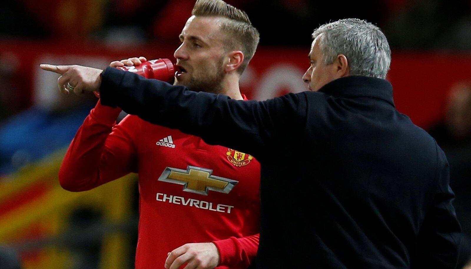 Luke Shaw ja Jose Mourinho
