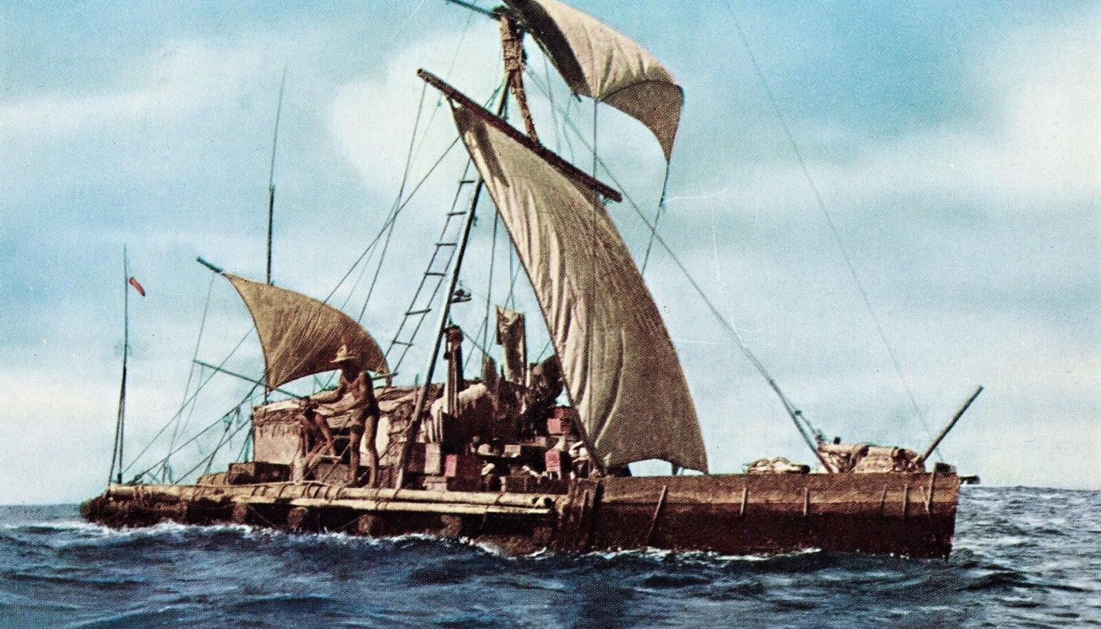 Viieliikmelise meeskonnaga seilas Heyerdahl 1947. a omavalmistatud parvel üle Vaikse ookeani (Foto: Wikimedia Commons)