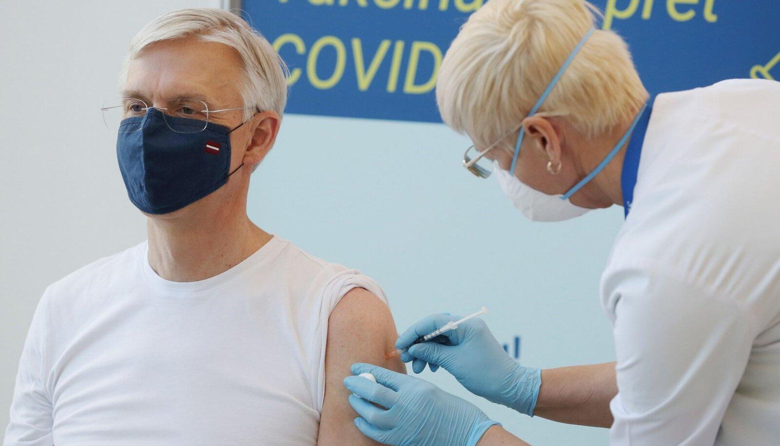 Läti peaministri Krišjānis Kariņši vaktsineerimine