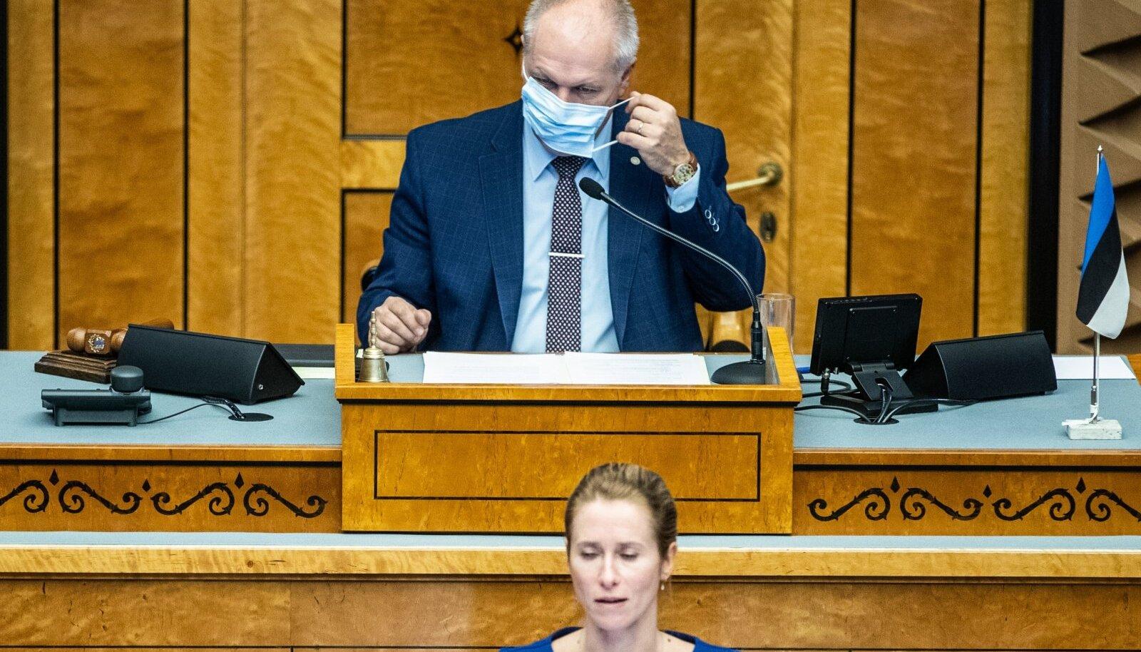 Kaja Kallas ja Henn Põlluaas riigikogus.