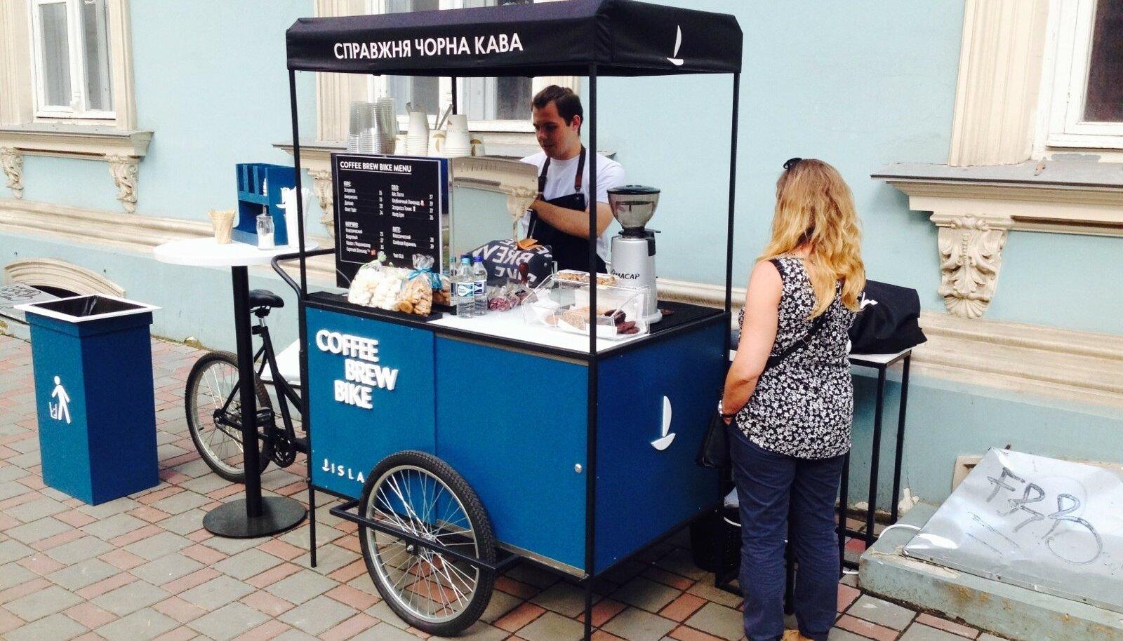 Odessa kohviautomaadid on ehitatud kõiksugustele liikuvatele vahenditele, autodest jalgratasteni.