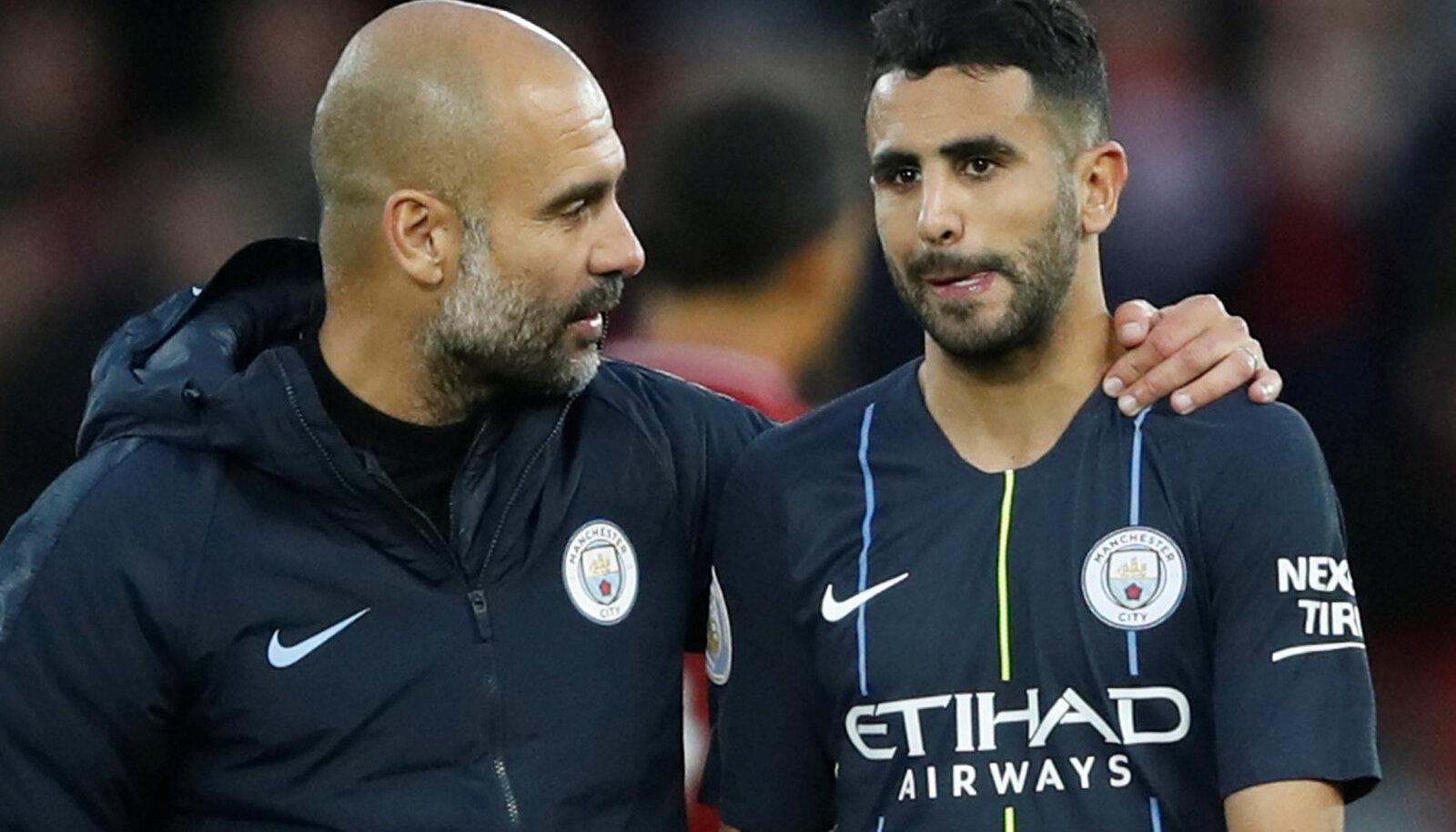 Pep Guardiola ja Riyad Mahrez