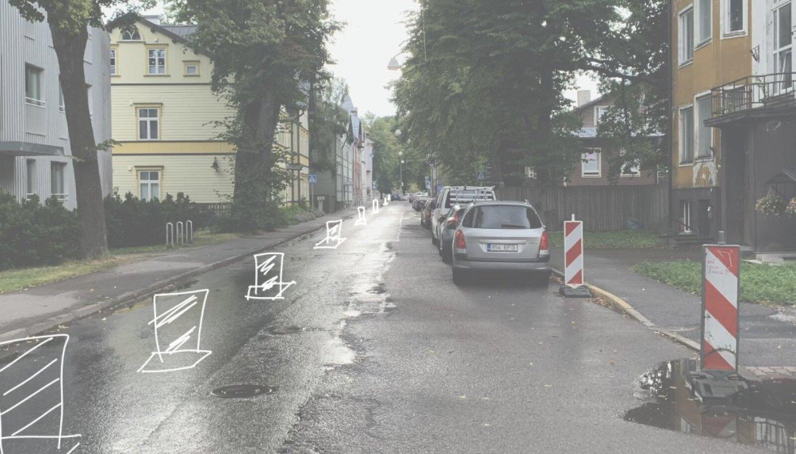 Järgmisel nädalal on Niine tänava kõnnitee pollarite abil laiem.