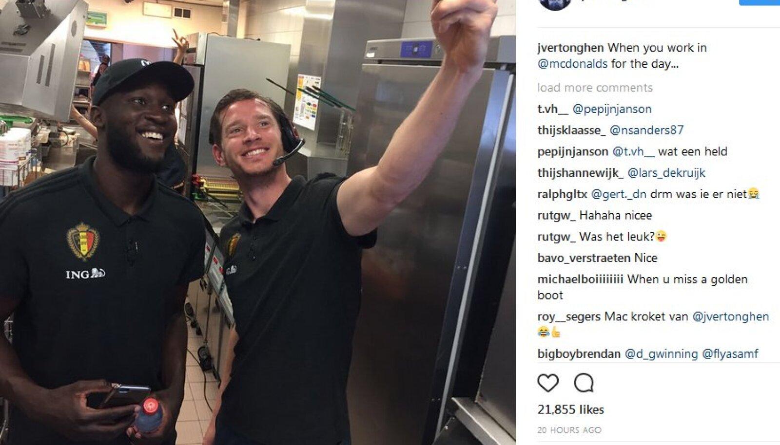 Romelu Lukaku ja Jan Vertonghen McDonald'sis.
