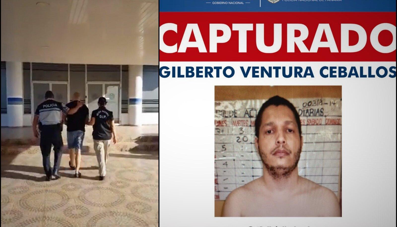 EI VEDANUD: Vasakul tabatud eestlane, paremal Gilbert Ventura Ceballose tagaotsimisteade.