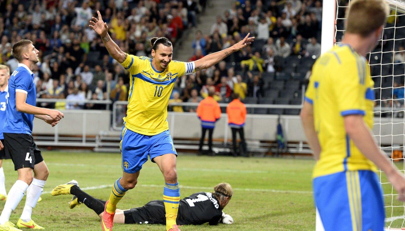 Zlatan Ibrahimovic 2014. aastal Stockholmis Eesti vastu skoorimas.