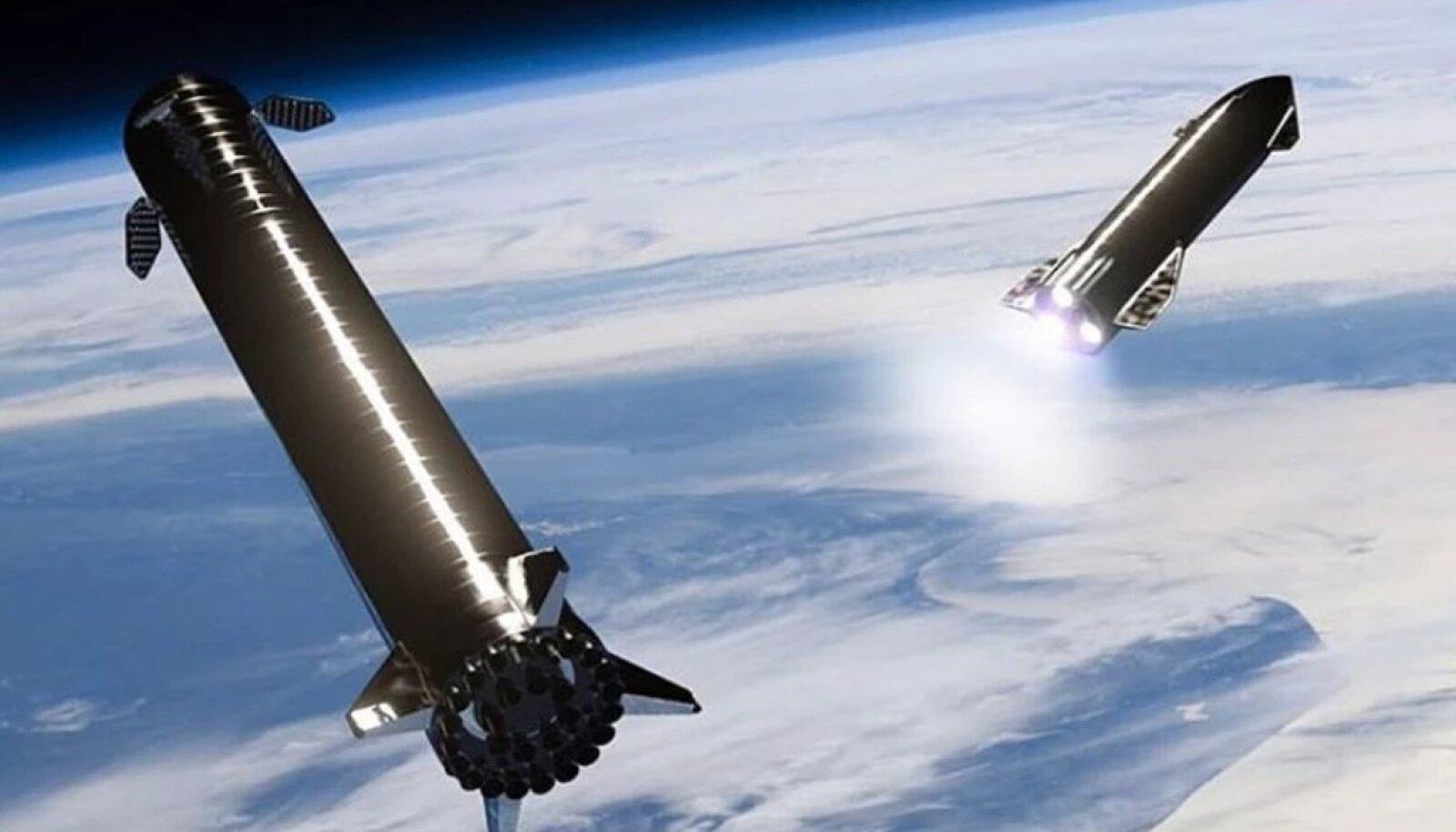 Kunstiline nägemus Super Heavy'st – pildil vasakul – ja selle küljest eraldunud Starship'ist (Tootja pilt)