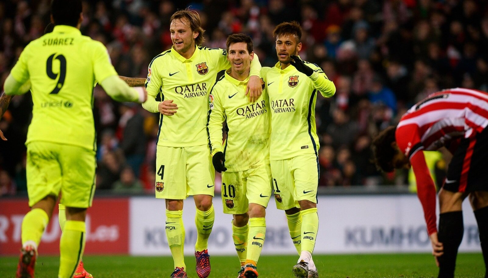 Barcelona's Suarez, Rakitic, Messi and Neymar celebrate a goal during their Spanish first division soccer match against Athletic Bilbao in Bilbao