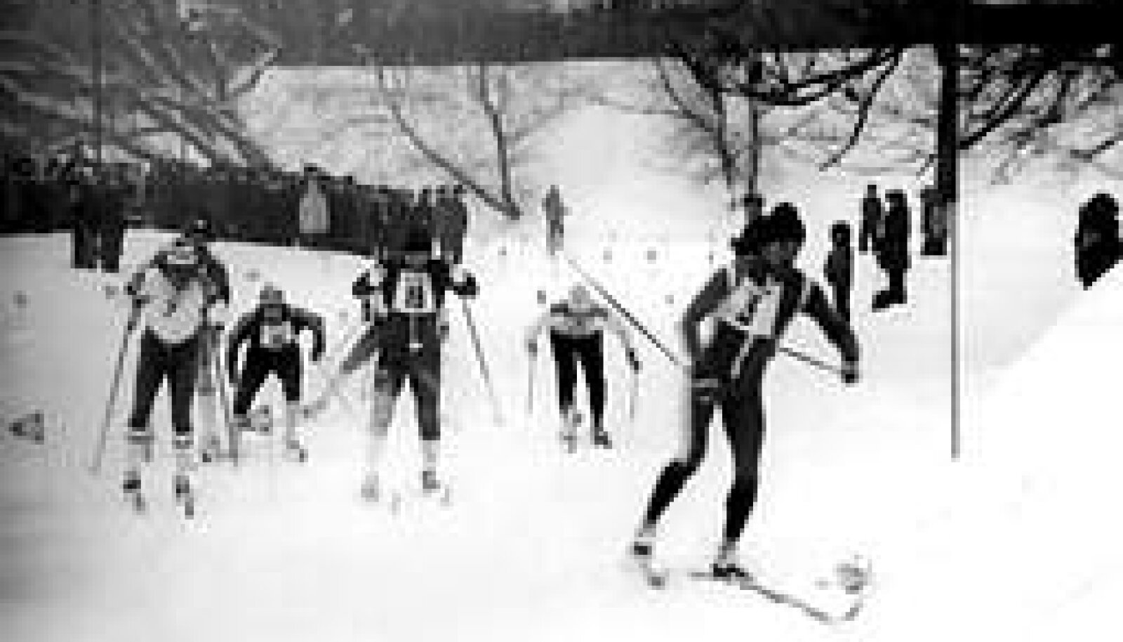 TÕELINE MASSIÜRITUS: 1976 aastal vaatas suusavõistlust Tallinna kesklinnas mitukümmend tuhat inimest. ERAKOGU