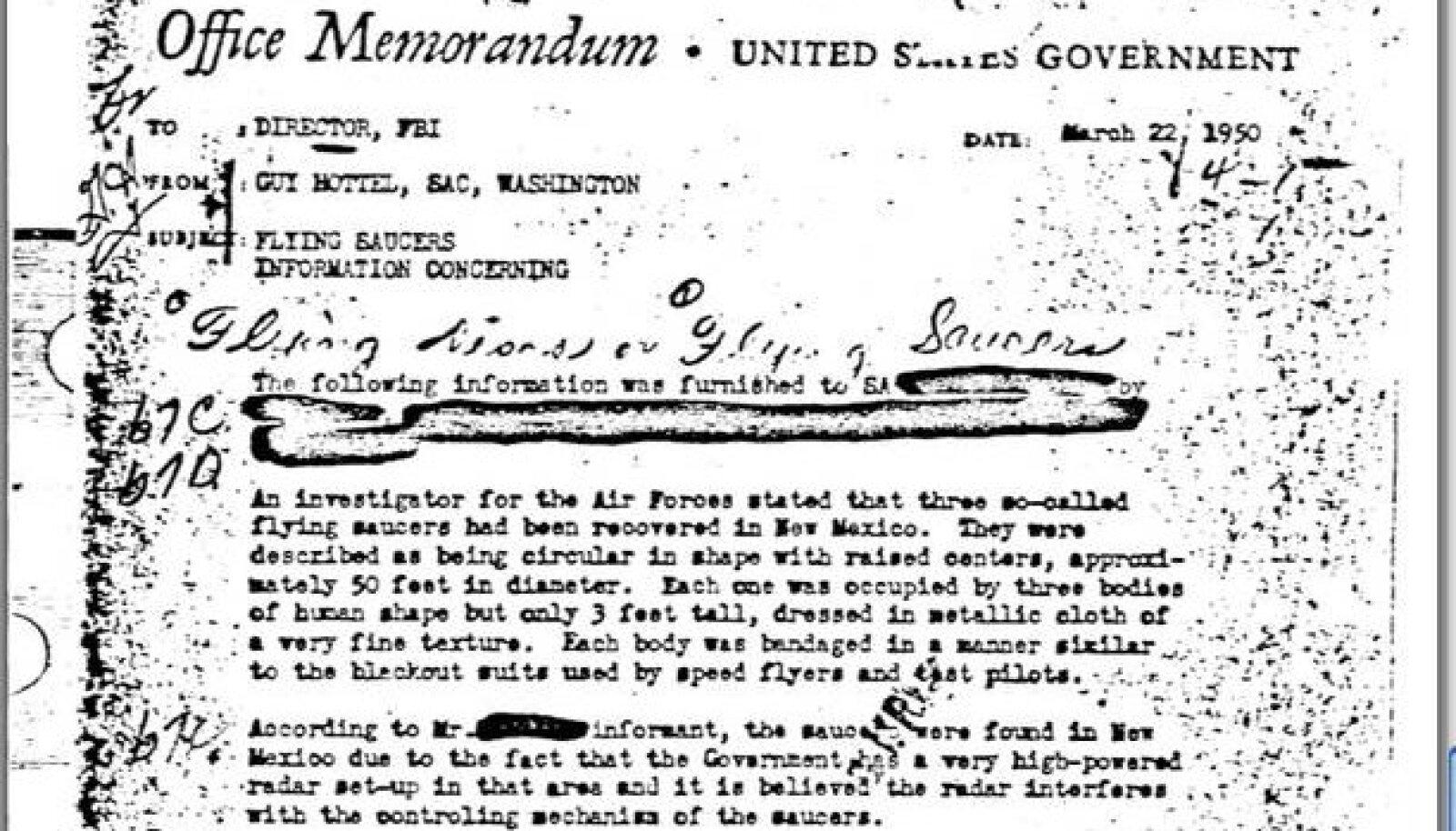 FBI dokument lendavate objektide kohta aastast 1950.