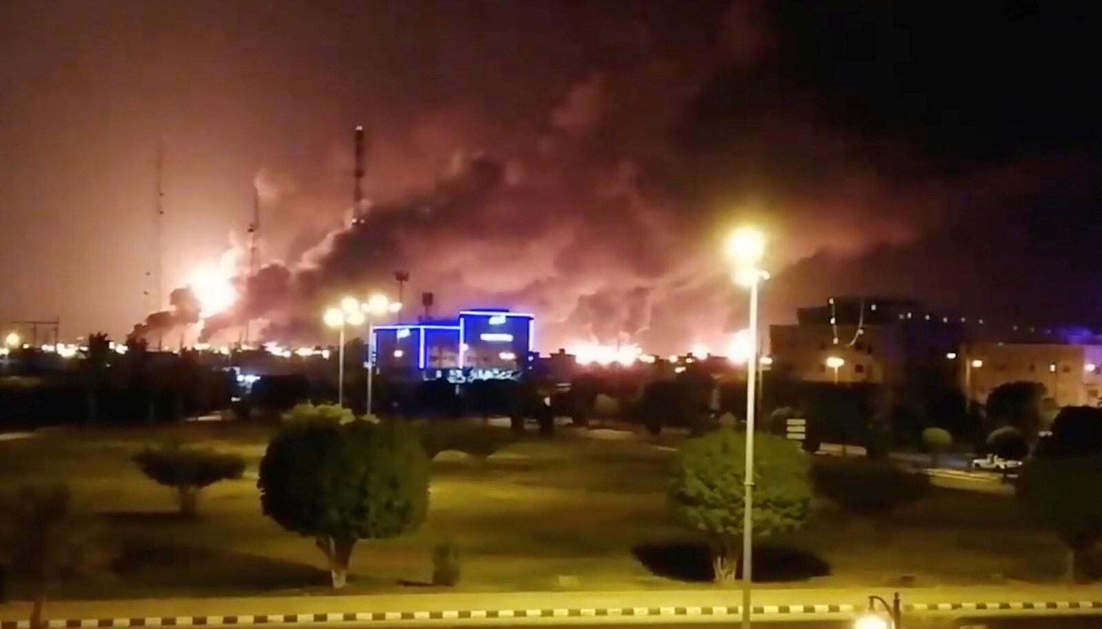 Põlengud Abqaiqis pärast droonirünnakut