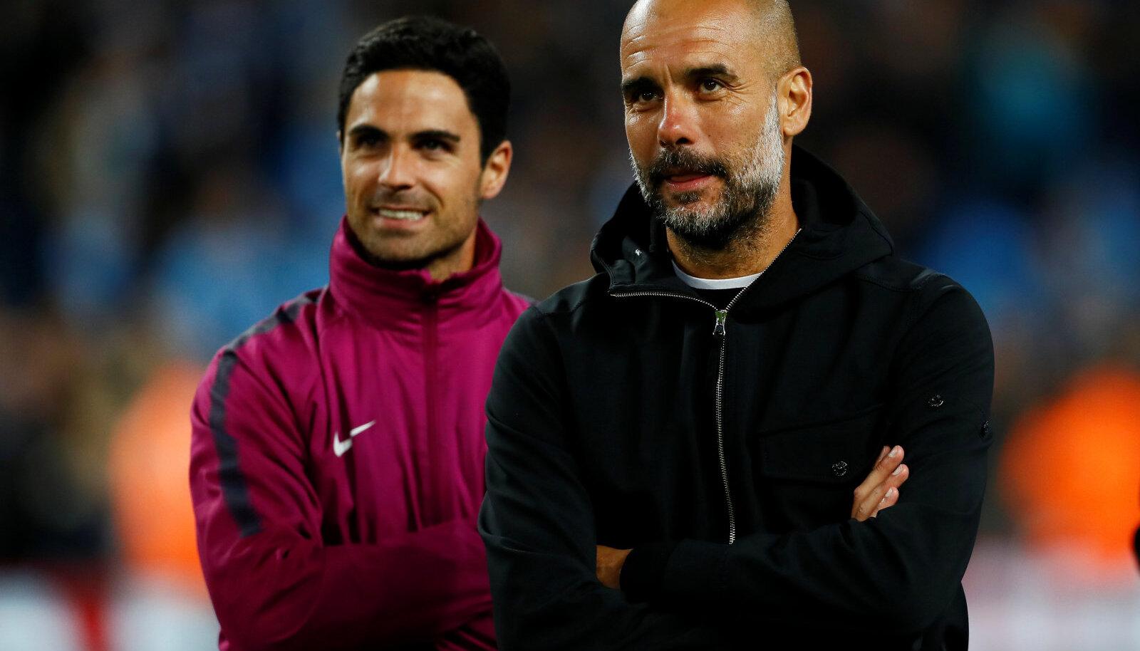 Mikel Arteta ja Pep Guardiola