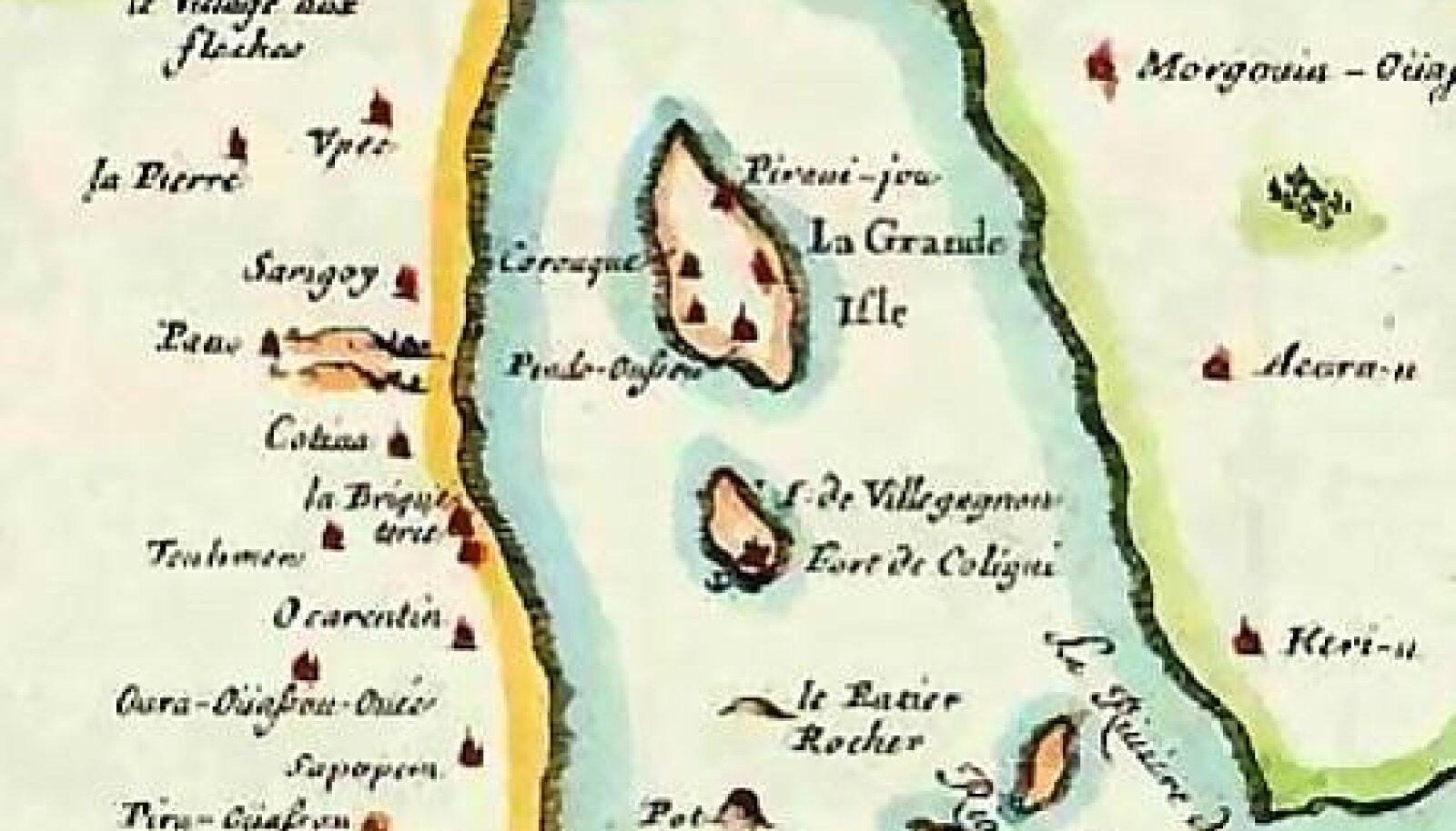 1555. aastal püsti pandud Prantsuse koloonia Rio de Janeiro aladel.