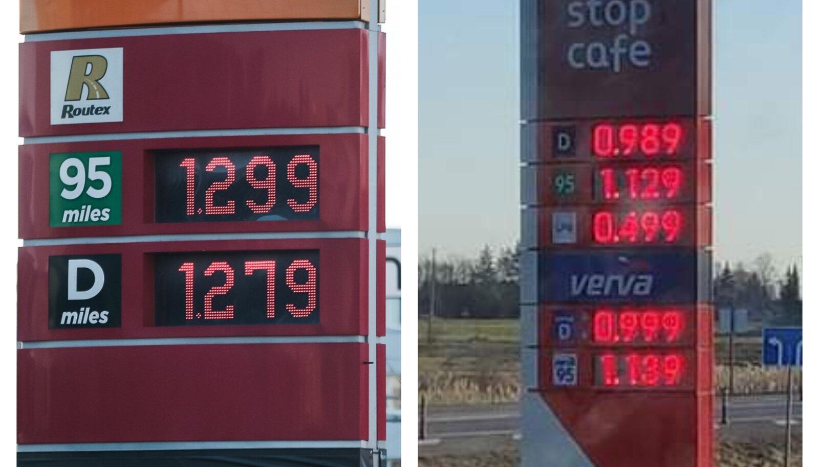 Mootorikütuse hinnad täna Eestis ja Leedus.