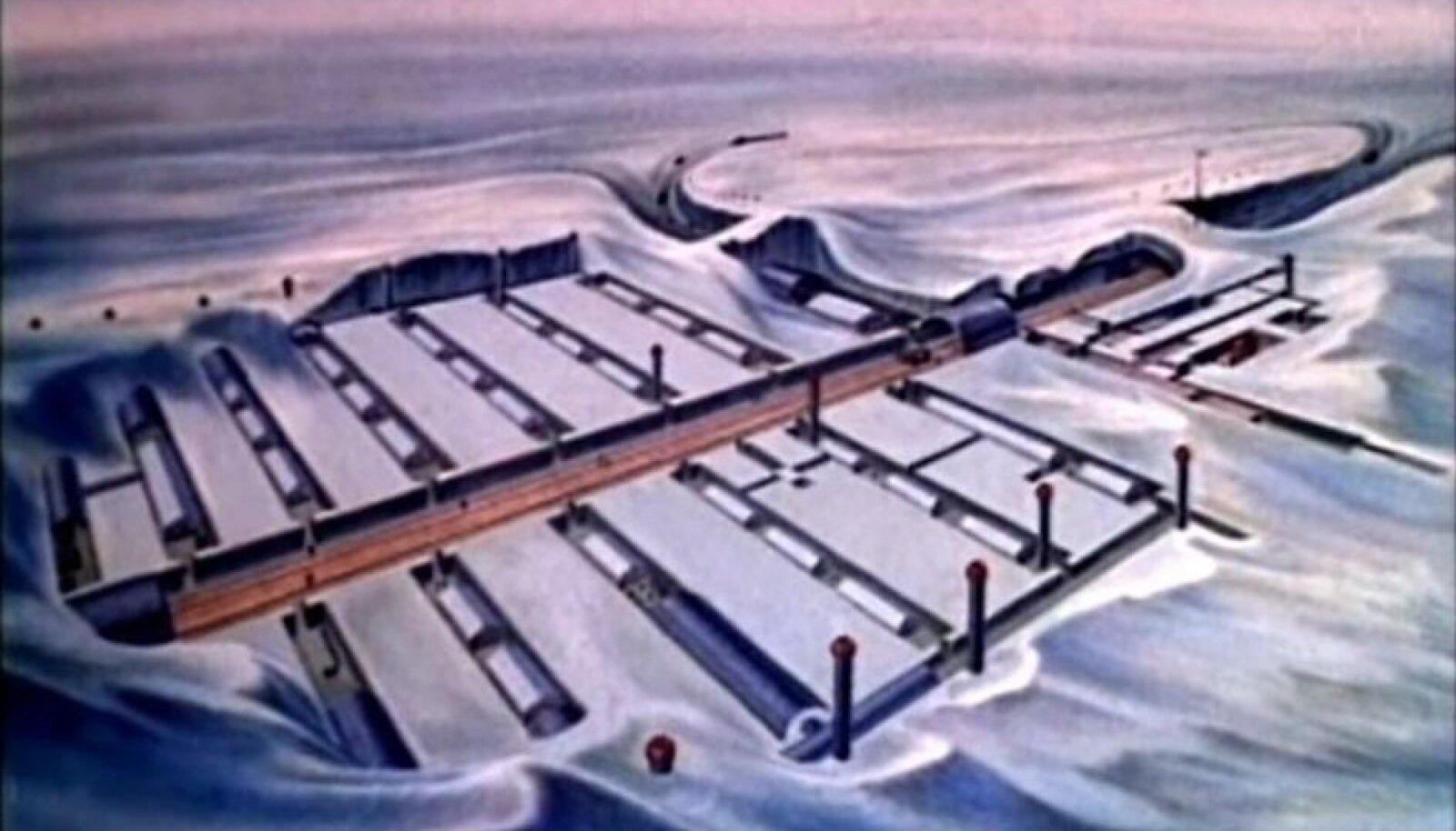 Kaadrid 1959. aastal rajatud Camp Century ehitusest valminud filmist
