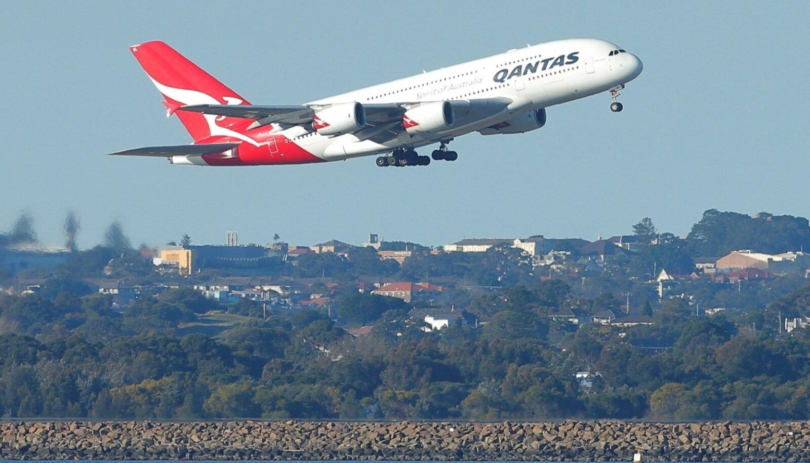 Lennufirma Qantas lennuk. Foto on illustratiivne.