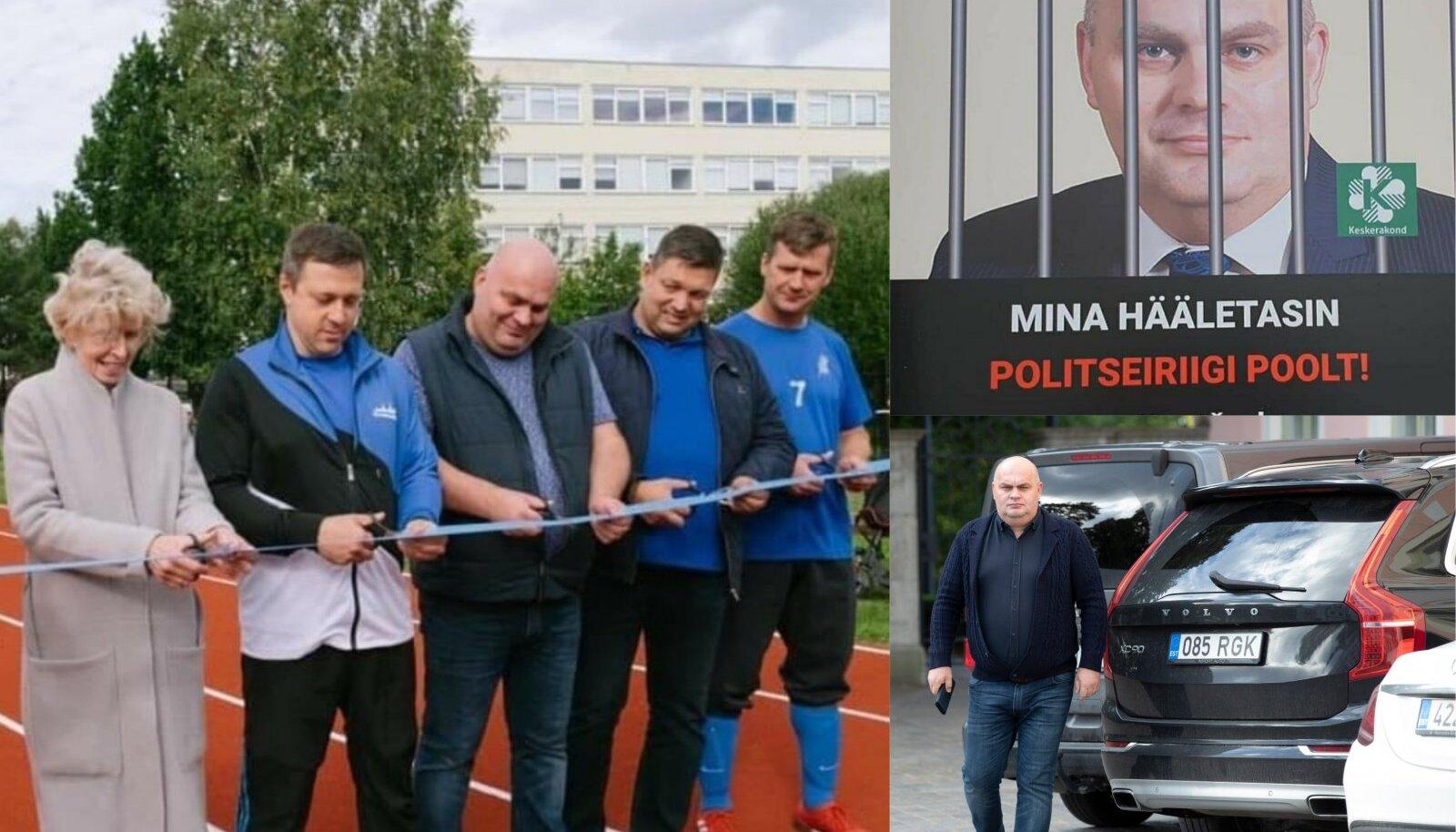 POLIITIK KRAVTŠENKO: Vasakul oleval pildil avab Kravtšenko Mustamäe koolistaadionit; paremal ülal jagas pilti plakatist, mille tegid protestijad ning all paremal teel oma kurikuulsaks saanud Volvost parlamenti.
