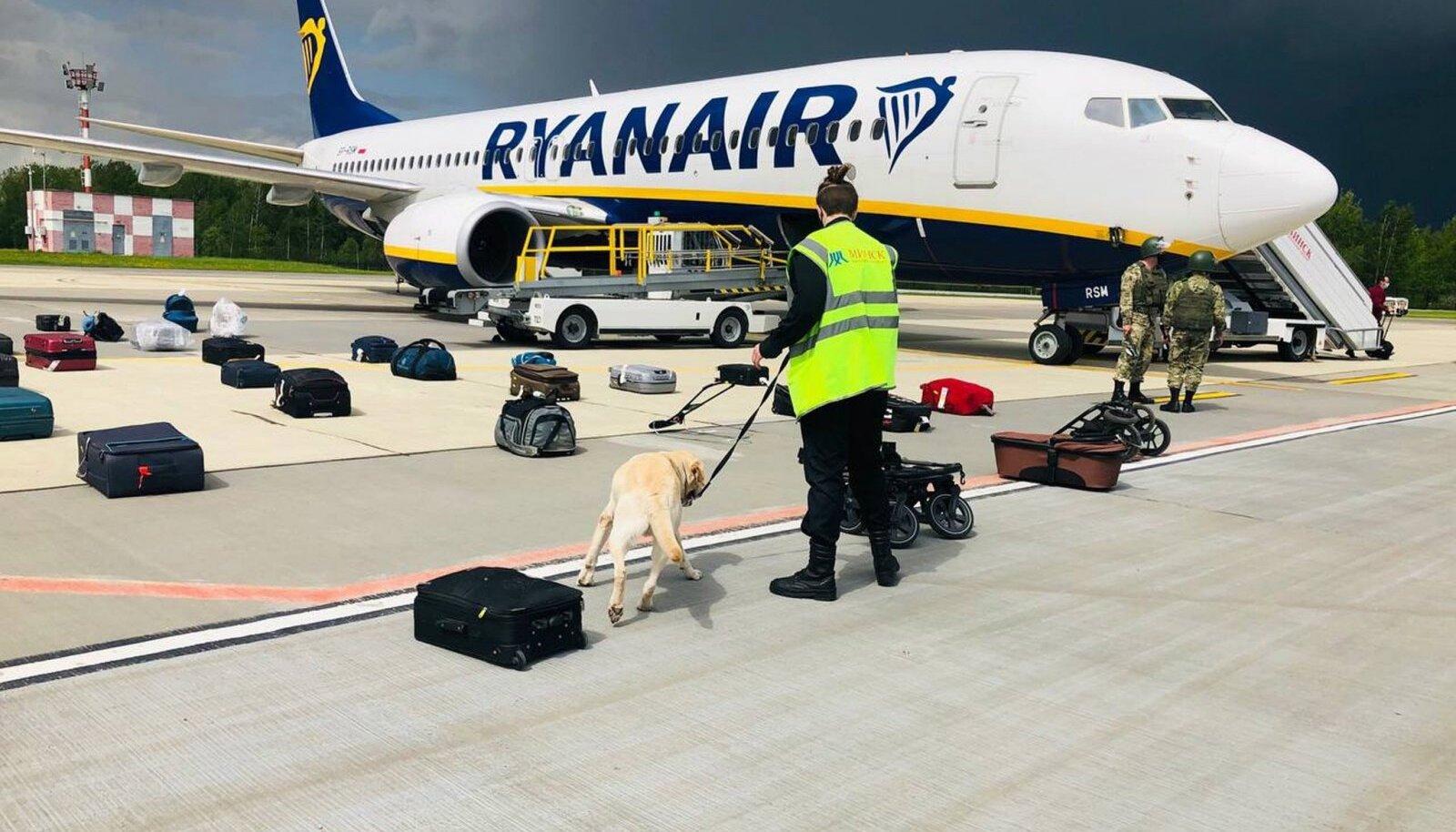 Minskis valega hädamaanduma sunnitud Ryanairi lennuki reisijate pagas käidi moe pärast ka pommikoertega üle.