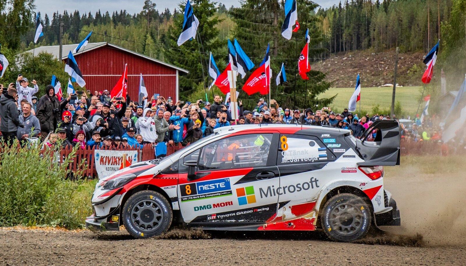 Ott Tänak ja Martin Järveoja 2019. aasta Soome rallil.