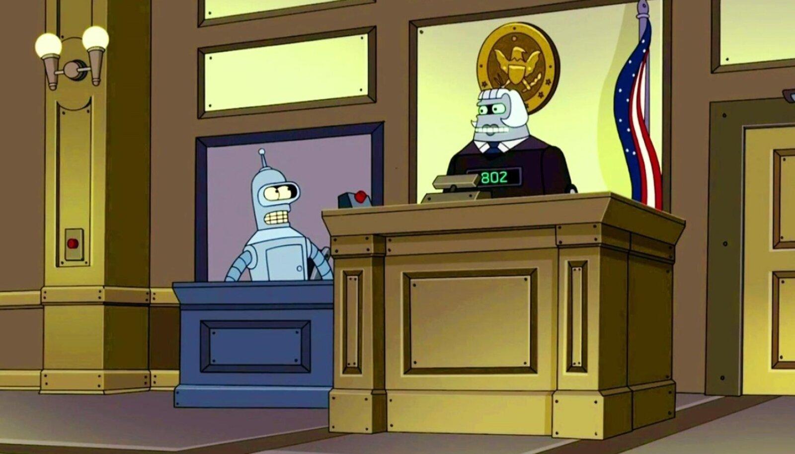 FUTURAMAS JUBA AMMU OLEMAS: Akupargi kiibikohtu robotkohtunik number 802 mõistis õigust robot Bender Bending Rodríguezi juhtumis, keda süüdistati kahes murdvargussüütamise episoodis.