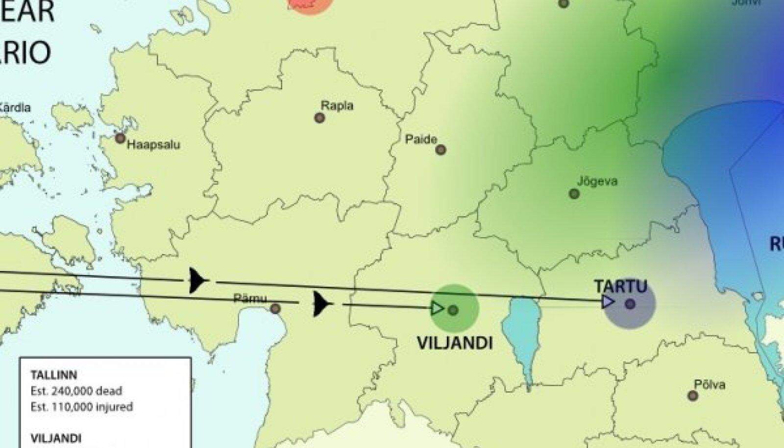Briti tuumasõja sihtmärgid Eestis. Kaart: estonianworld.com