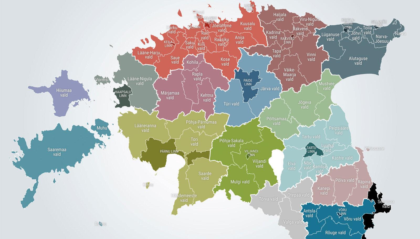 Omavalitsused pärast 2017. aasta kohalike omavalitsuste valimisi.