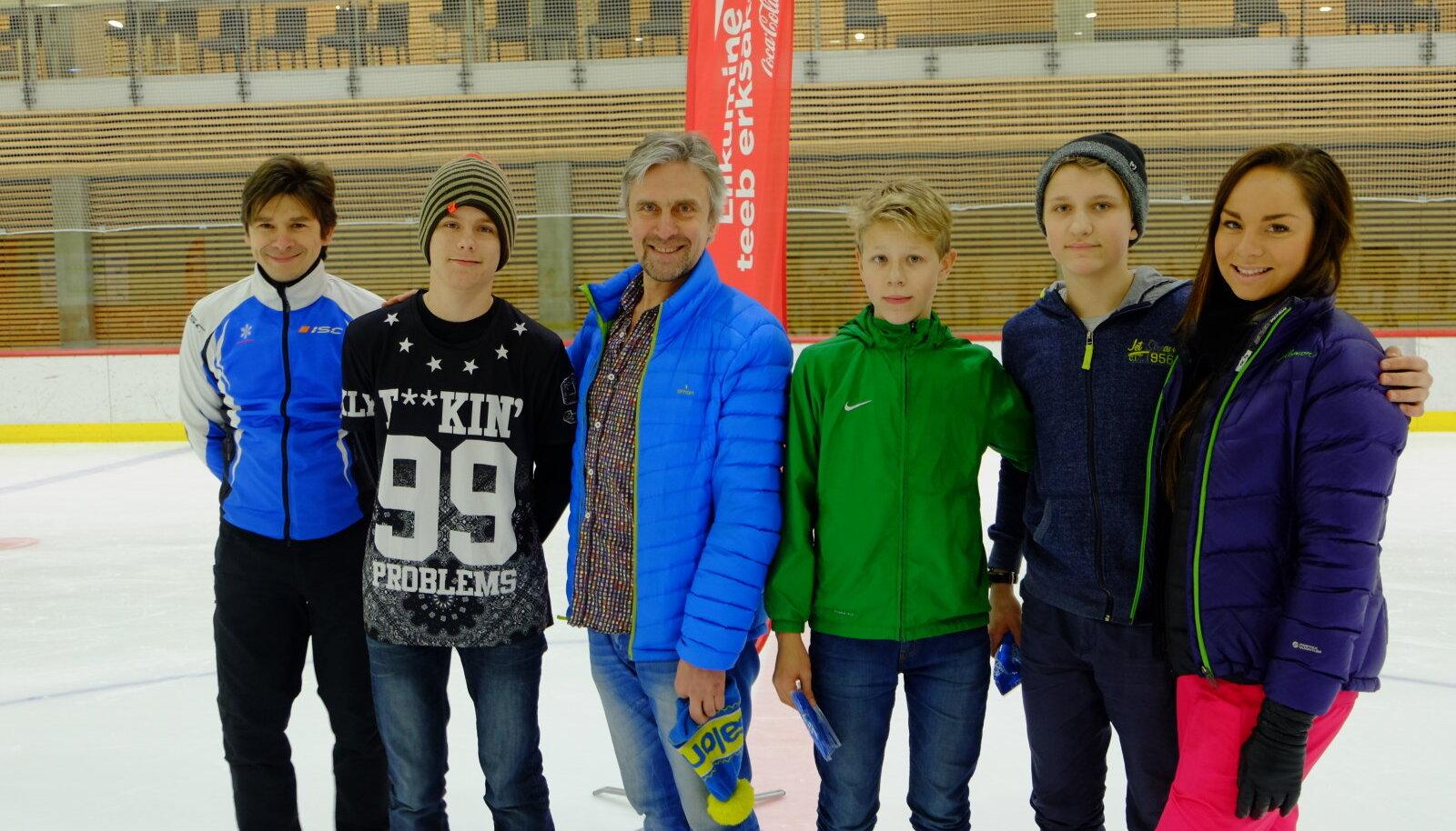 Vastlapäev Liikumine teeb erksaks! - Pikema liu tegijad koos olümpiasangarite Allar Levandi, Elena Glebova ja Margus Hernitsaga
