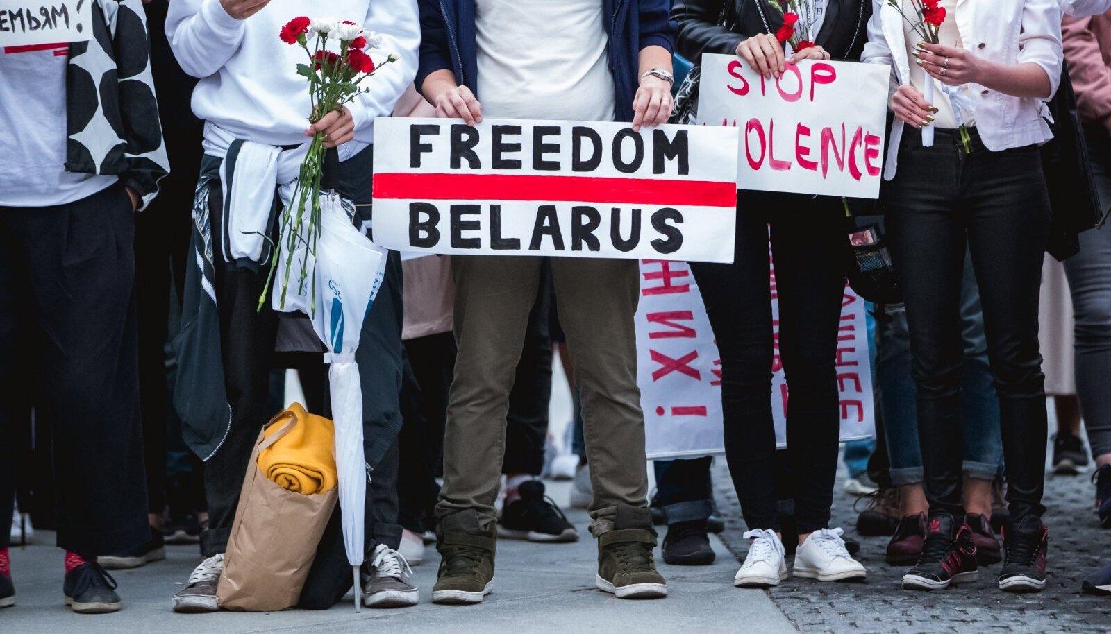 Valgevene toetusprotest Vabaduse väljakul