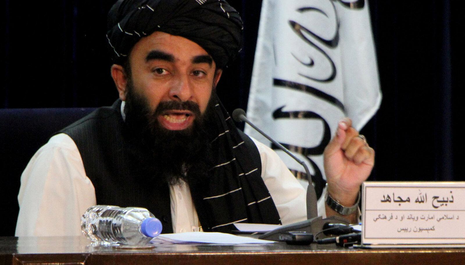 Ministrid ja valitsusjuht avalikkuse ette ei ilmunud, avalduse luges ette pressiesindaja Zabihullah Mujahid üksi