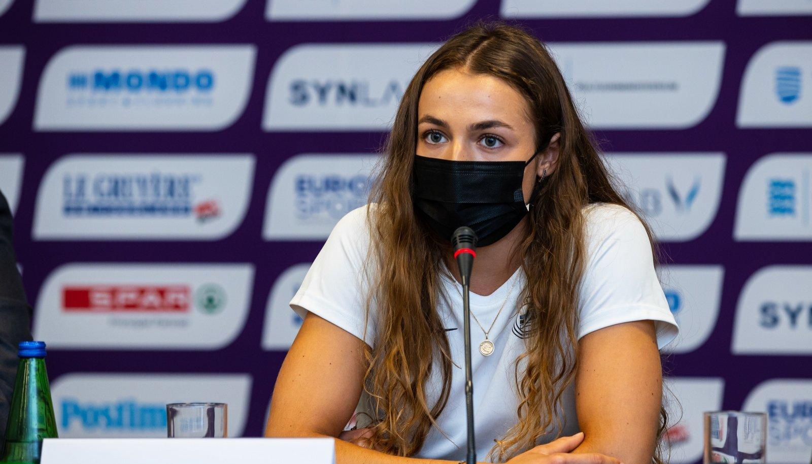 Lishanna Ilves U23 EM-i pressikonverentsil Olümpia hotellis.