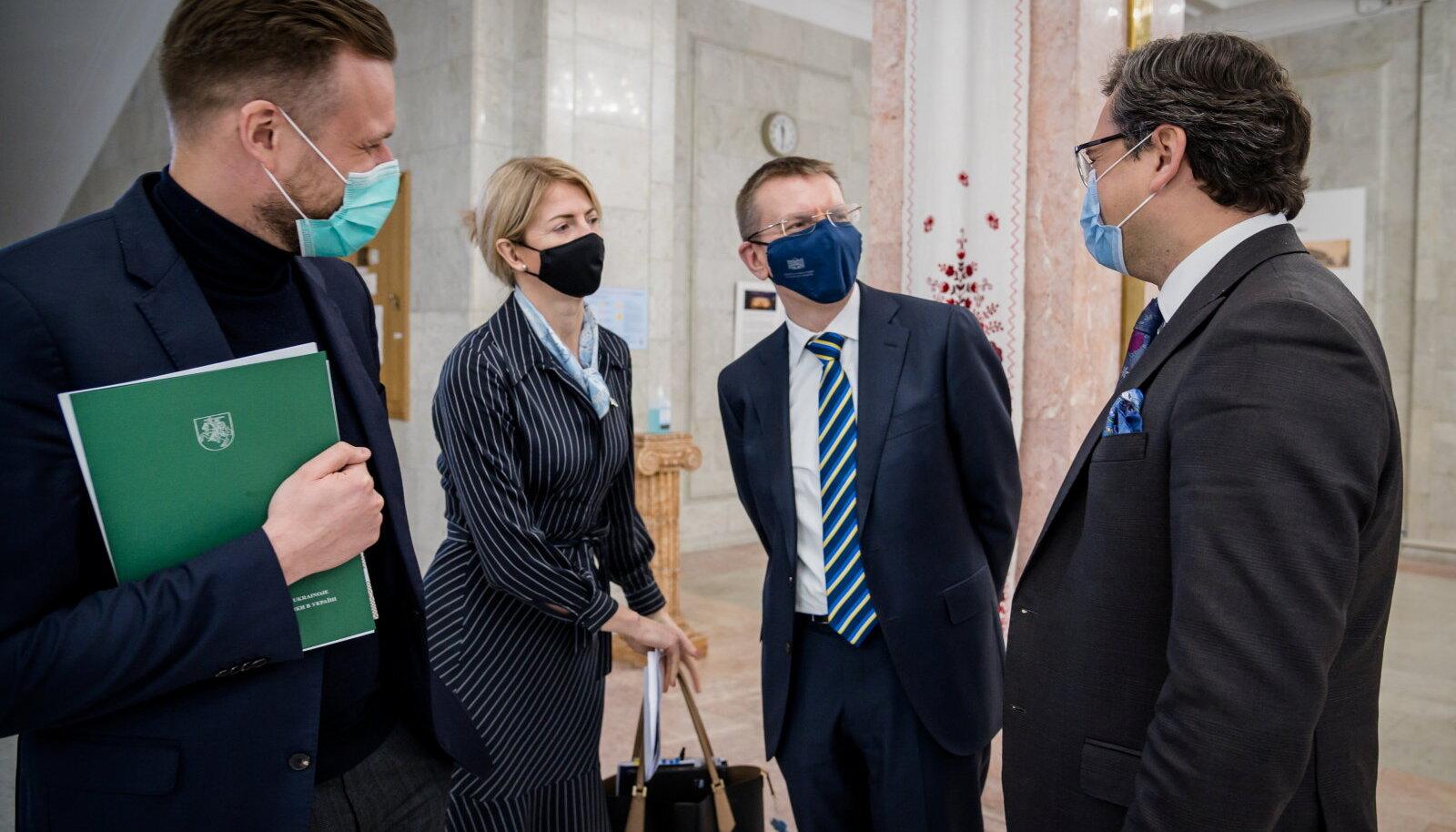 Gabrielius Landsbergis, Eva-Maria Liimets, Edgars Rinkēvičs ja Dmõtro Kuleba