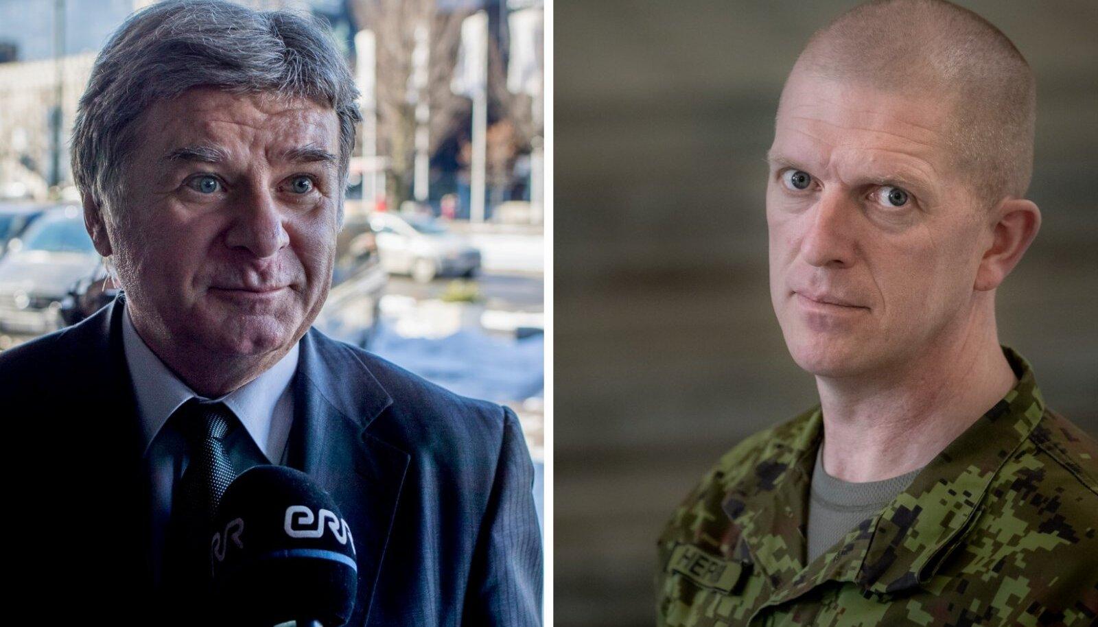 Посол РФ в Эстонии Александр Петров (слева) и т командующий Силами обороны Мартин Херем