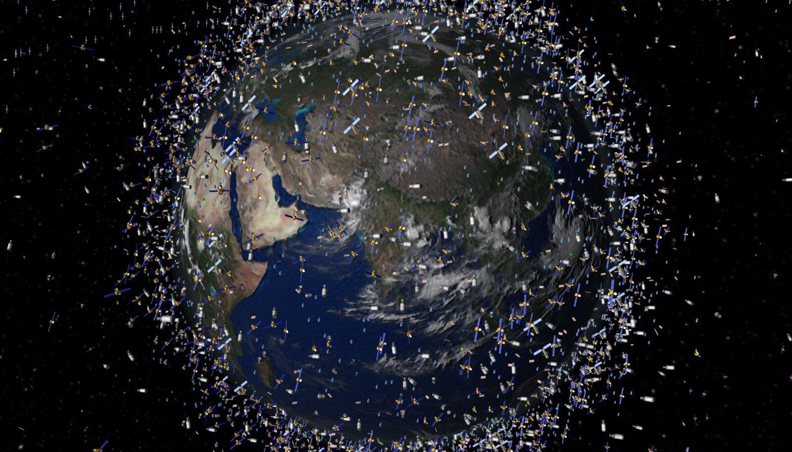 Illustreeriv foto, mis kujutab kunstniku nägemust kosmoseprügist Maa ümber