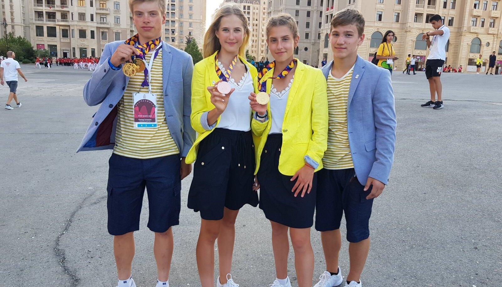 Eestile medaleid võitnud Madis Mihkels, Laura Lizette Sander, Jekaterina Mirotvortseva ja Viljar Lipard.